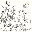 Lithographie - Le duo Guitare et Flute -gen-paul