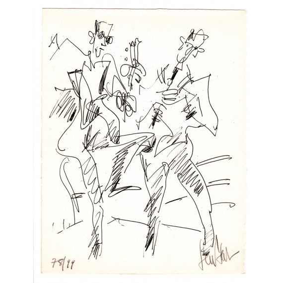 Lithograph - The duet Guitar and Flute