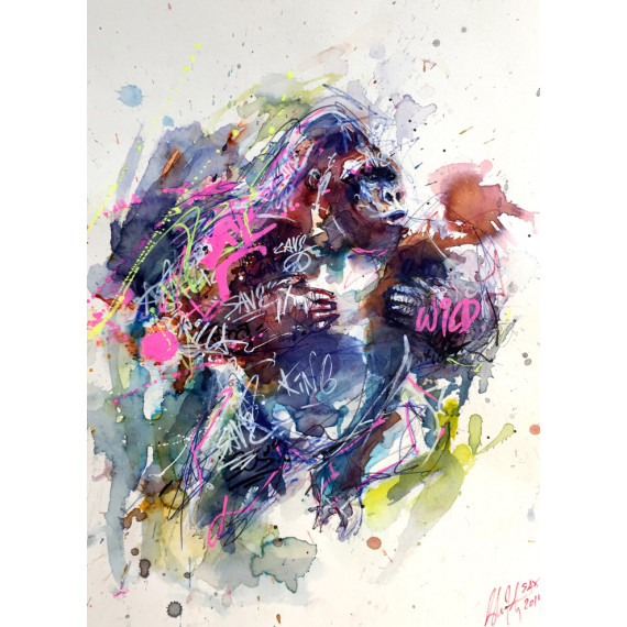 the-gorilla-sax-artwork-aquarelle-originale-street-art-watercolor