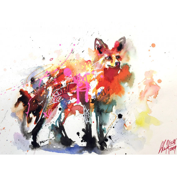 the-fox-sax-artwork-aquarelle-originale-street-art-watercolor