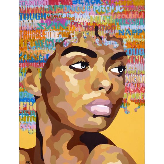 Portrait sur fond jaune portrait-shaz-painting