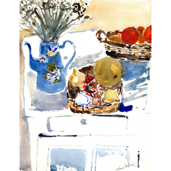 La cafetière bleue, 1977-robert-delval-original-artwork