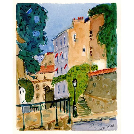 Montmartre, rue Saint-Vincent 1989 -robert-delval-original-artwork