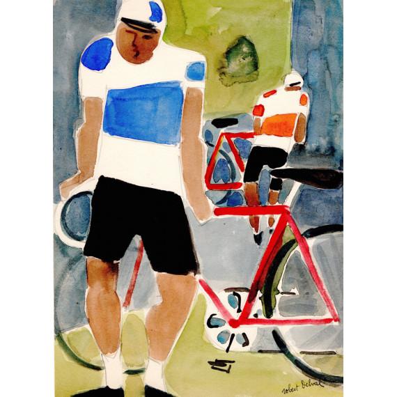 Les cyclistes 1975 -robert-delval-oeuvre-originale