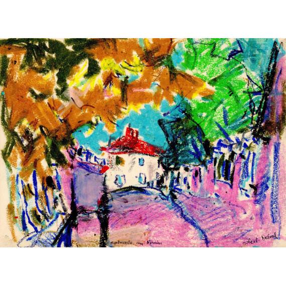 Montmartre rue Norvins 1972 -robert-delval-oeuvre-originale