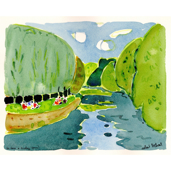 La cure at accolay Yonne 1989 -robert-delval-original-artwork