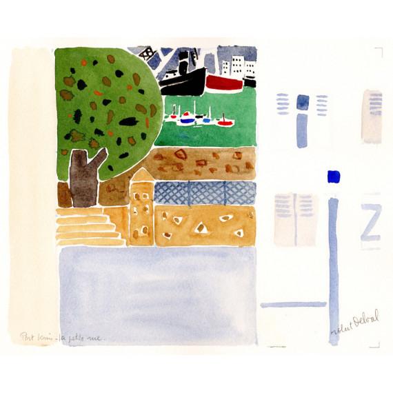 Port louis la petite rue 1990 robert-delval-original-artwork