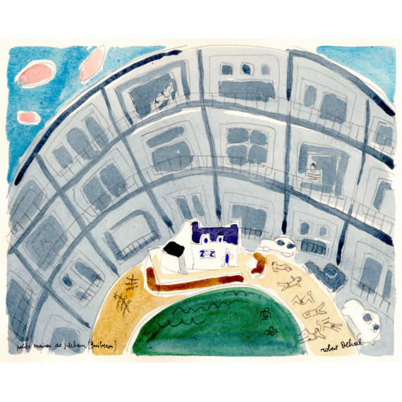 Petite maison de pecheur quiberon 1991 -robert-delval-original-artwork