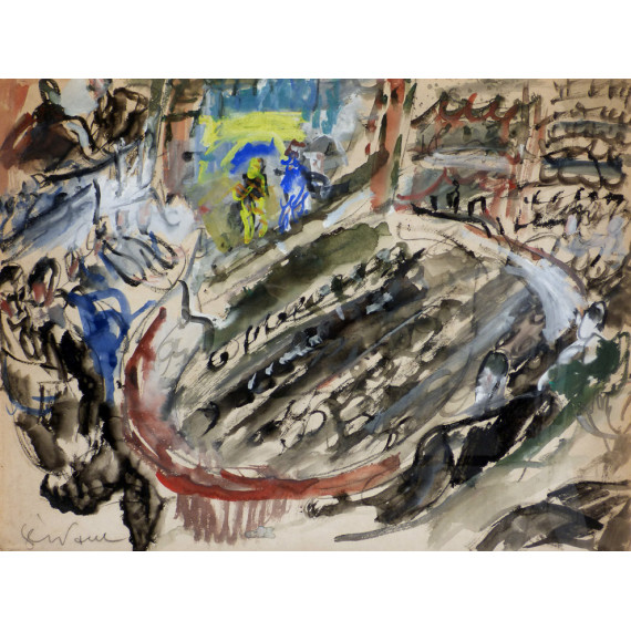 Gouache painting : The Theater
