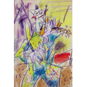 Pastel drawing : The clown violonist