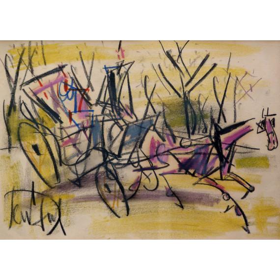 Pastel drawing : La Calèche
