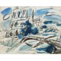 Gouache : Notre-Dame de Paris et la Seine