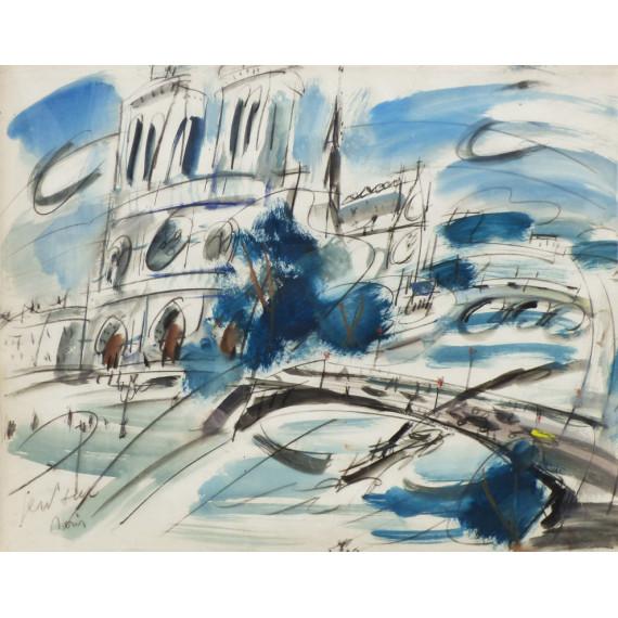 Gouache painting : Notre-Dame de Paris et la Seine