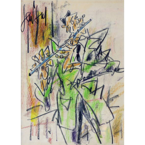 Pastel drawing : Le Flutiste