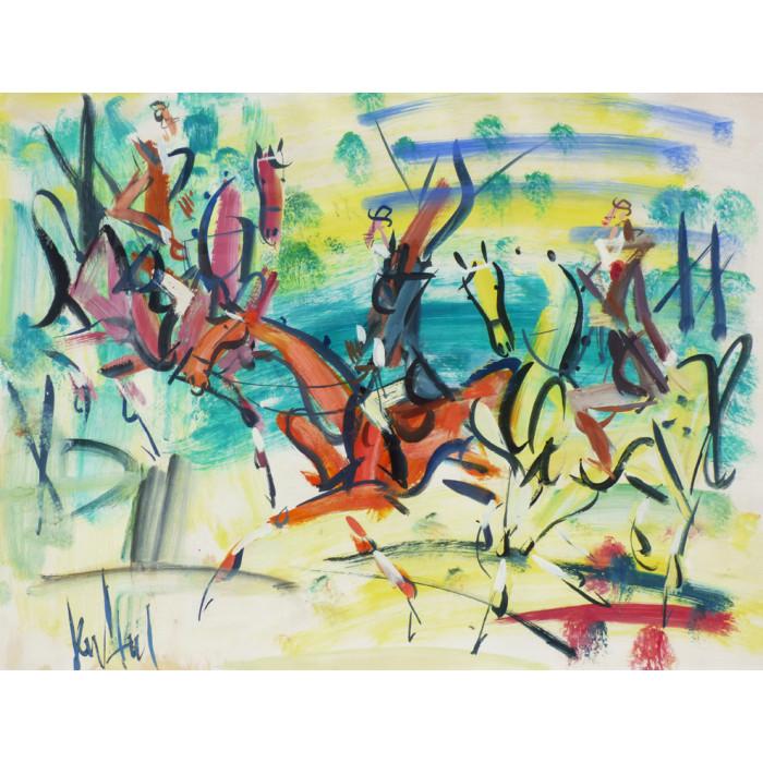 Gouache painting : The three horsemen