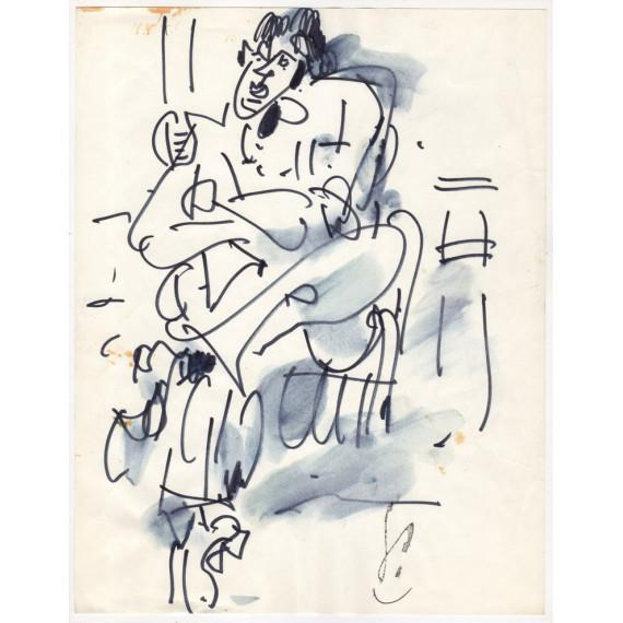Drawing - Sitting man