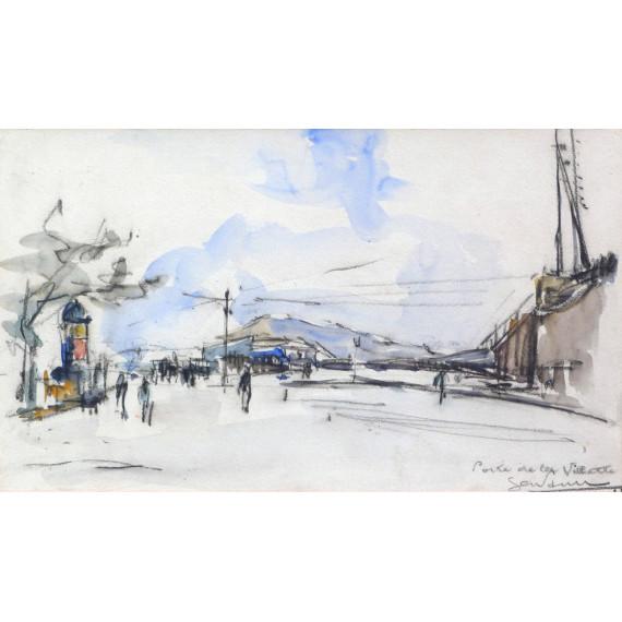 Drawing - porte de la villette in Paris c1923