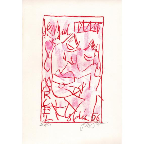 Lithographie - Portrait de Marcel Aymé par Gen Paul