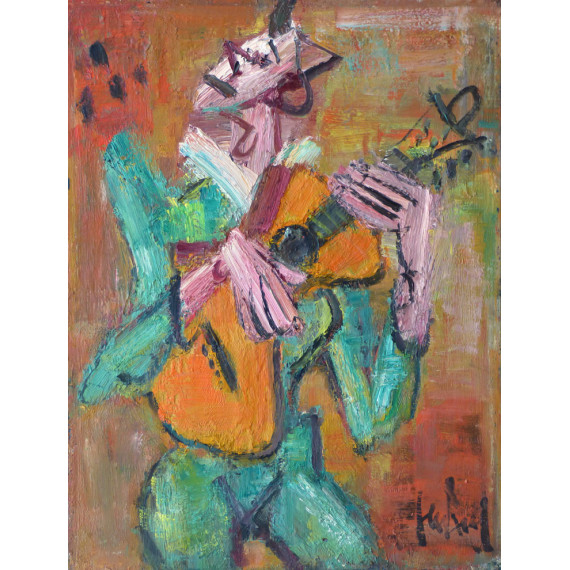 Painting : The clown playing the guitar
