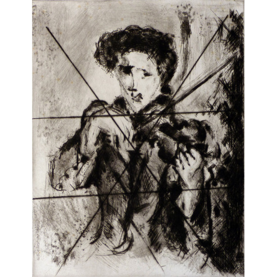 Etching : The Violinist ( crossed out etching )