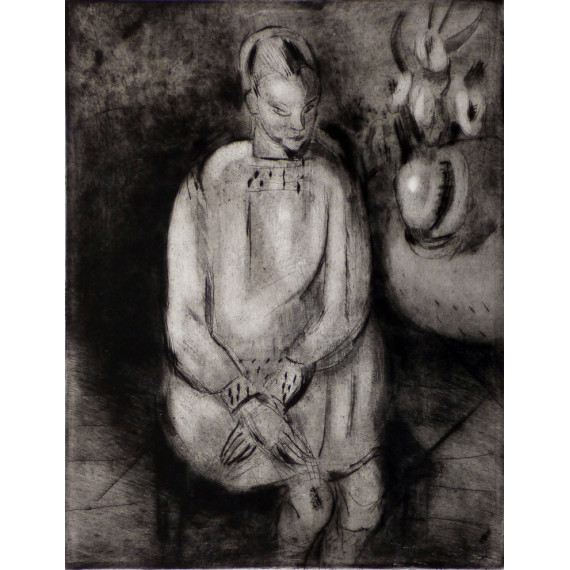 Etching : A sitting young lady, 1926