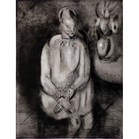 Gravure : Jeune fille assise, 1926-par gen paul