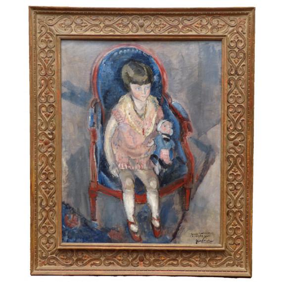 Peinture : Jeanine Warnod à 3 ans. Probablement la toile la plus importante historiquement de Gen Paul.