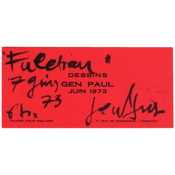 Texte de Gen Paul sur carton d'invitation de la Galerie Colin Maillard en 1973