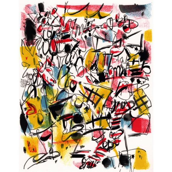Lithographie - Deux clowns musiciens gen paul