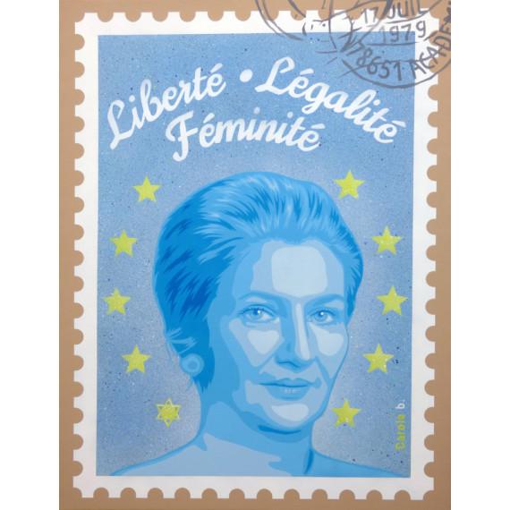 Simone Veil - Liberté Légalité Féminité - Painting on canvas