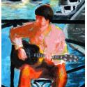 Peinture, le joueur de guitare sur le Pont des Arts à Paris