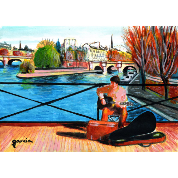 Painting, the guitar player on the Pont des Arts in Paris