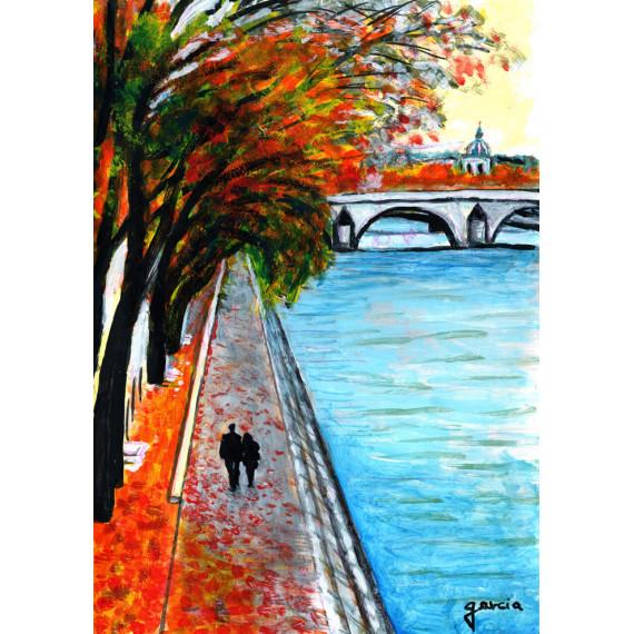 Painting, The ballad on the Quais de Seine in Paris