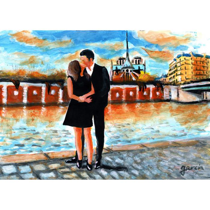Peinture, Les Amoureux devant Notre-Dame de Paris au bord de la Seine