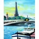 Peinture, Péniches à Quai devant la Tour Eiffel