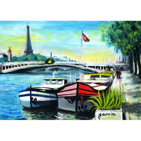 Painting, Barges at Quai in front of the Eiffel Tower