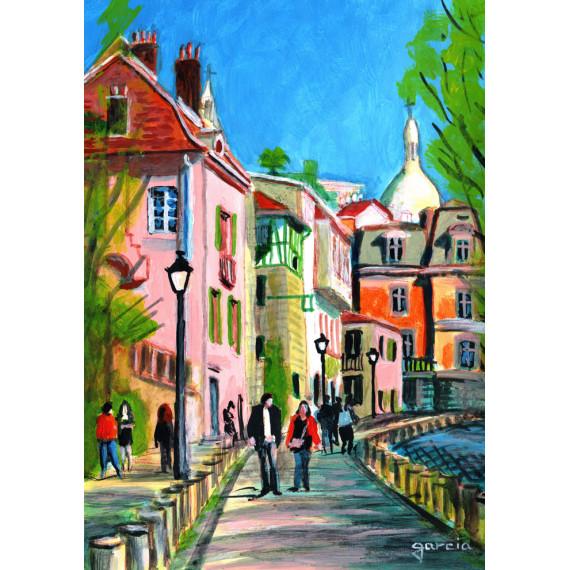 Painting, A walk rue de l'Abreuvoir in Montmartre