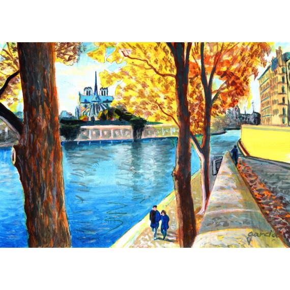 Painting, Notre-Dame de Paris through the Trees