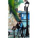 Peinture, En montant les marches des escaliers du Calvaire à Montmartre