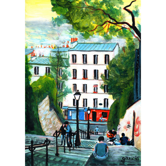 Painting, Climbing the stairs of Calvary in Montmartre