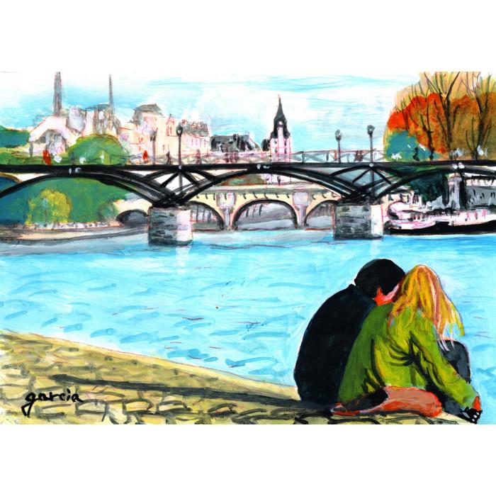 Peinture, Le Pont des Arts et le Square du Vert Galant à Paris