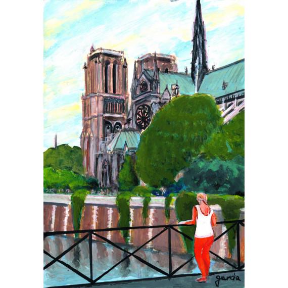 Painting, Notre-Dame de Paris Cathedral seen from Pont de Montebello