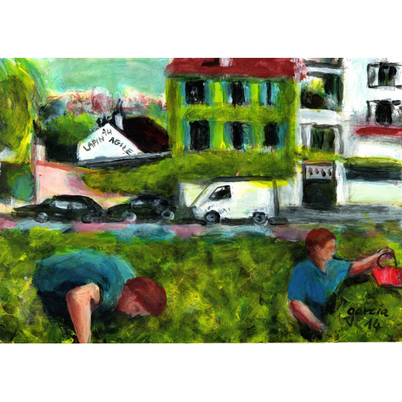 Painting, The vines of Montmartre, picking wine