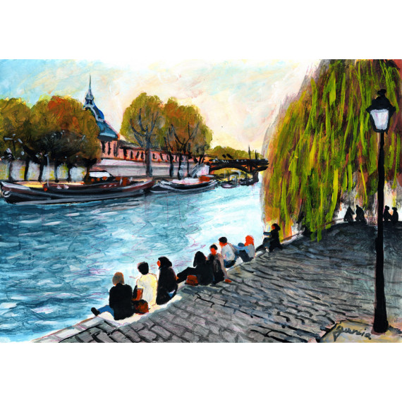 Painting, At the edge of the Seine