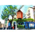 Peinture, Le restaurant du Moulin de la Galette à Montmartre, le moulin du Blute-fin