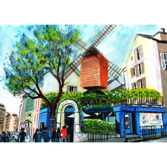 Painting, The restaurant of the Moulin de la Galette in Montmartre, the mill of Blute-fin