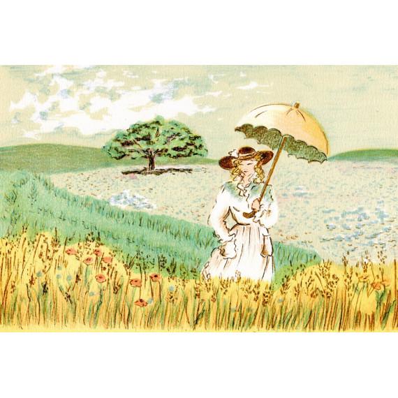 Claude Montoya - La jeune femme et l'ombrelle dans les champs de blé