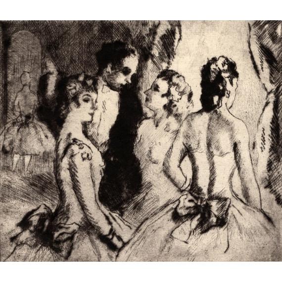 Marcel Cosson - Engraving - Ballerinas at the Foyer de l'Opéra