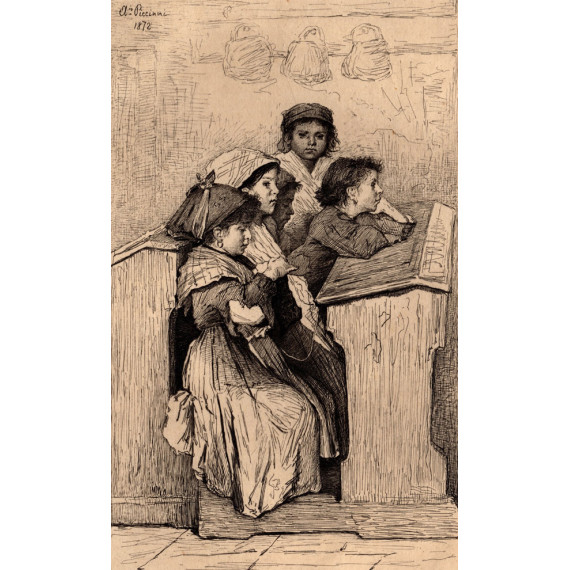 Engraving from 1879 by Antonio Piccinni - A school in Rome