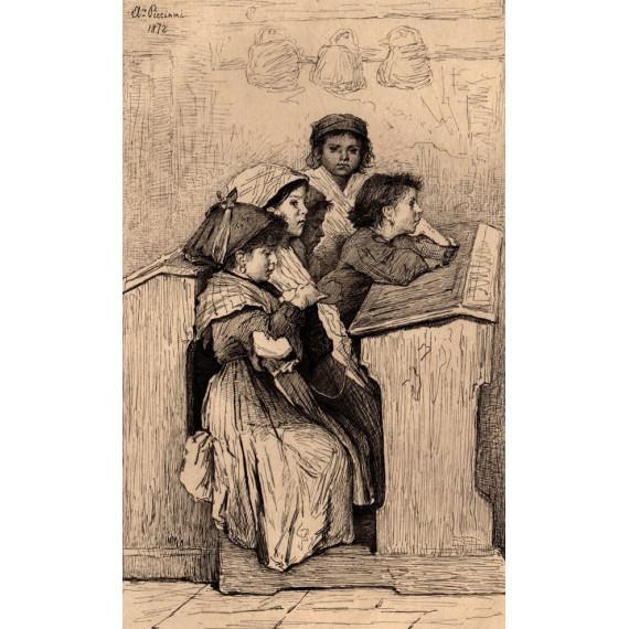 Gravure de 1879 par Antonio Piccinni - Une école à Rome